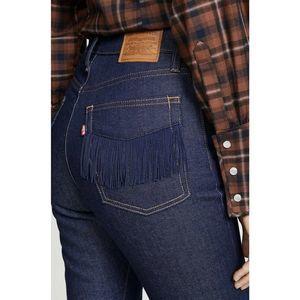 Levi's Wedgie Striaght Leg Fringe  Cropped Jeans